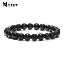 Minimalista natural preto obsidian pulseira masculino 4mm 6mm 8mm 10mm 12mm frisado charme brazalete hombre yoga jóias braçadeira pulseras