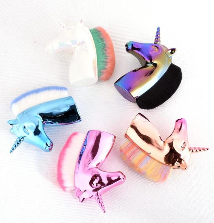 1pc Unicorn Nail Dust Brushes Horse Rainbow Holder Makeup Brush Blush Powder Foundation Cosmetic Manicure Tools