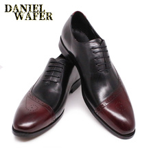 Luxury Men Oxford Shoes Leather Casual Dress Formal Shoe Brogue Burgundy Mix Black Pointed Toe Lace Up Wedding Office Shoes Men men shoes quality leather dress round toe shoe men brand brogue black business wedding casual shoes