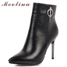 Meotina Winter Ankle Boots Women Boots Crystal Thin High Heels Short Boots Zipper Pointed Toe Shoes Ladies Autumn Big Size 33-43 недорого