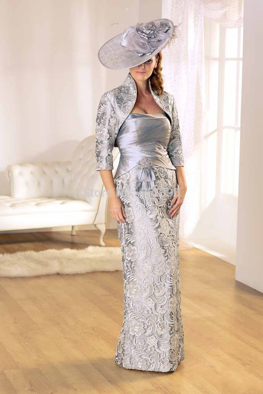 Free Shipping 2016 New Fashion Vestidos Formales De Noiva Sexy Long Sleeves Lace Elegant Mother Of The Bride Dresses With Jacket