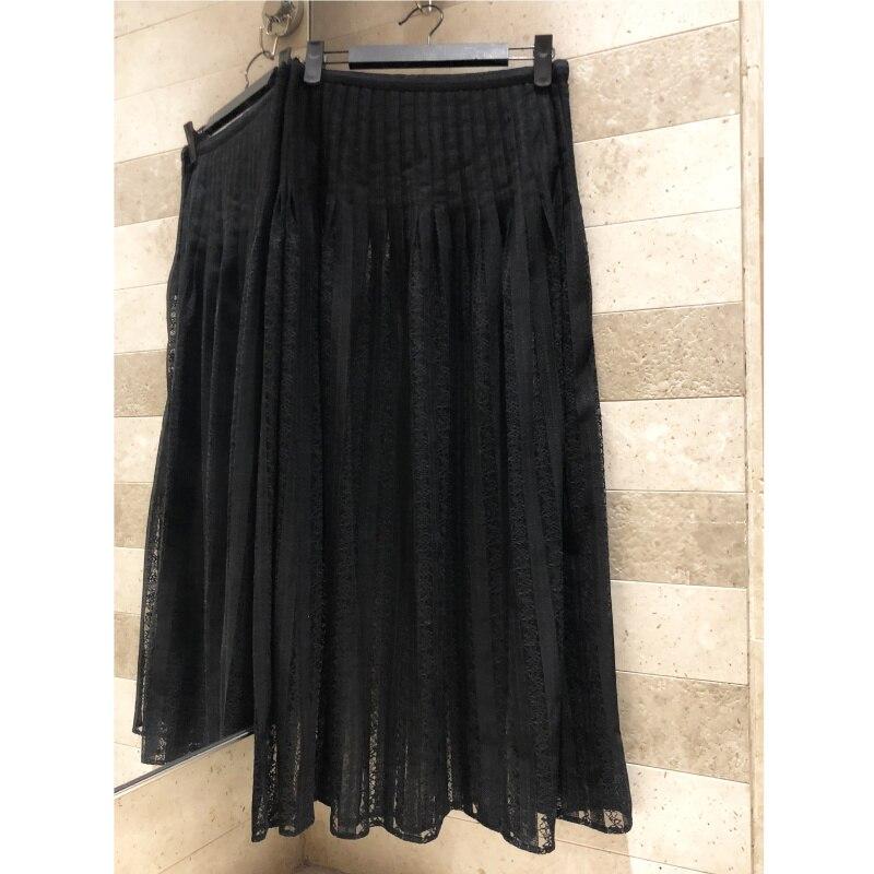 Exquisito encaje bordado costura falda bordado calidad alta cintura faldas largas plisadas Forro de algodón falda de dos piezas-in Faldas from Ropa de mujer    1