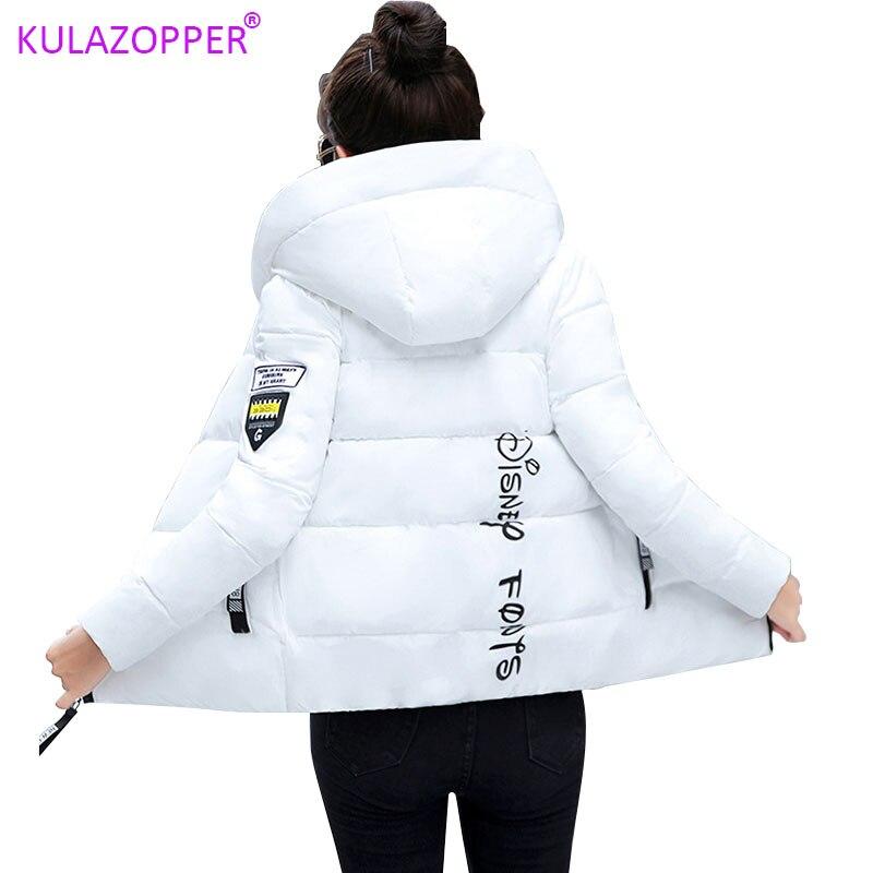 KULAZOPPER New 2019 Winter hot down cotton women's short hooded  jackets ZH084-in Parkas from Women's Clothing