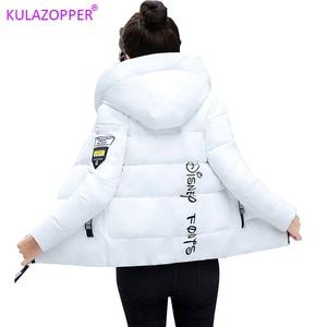 Image 1 - Winter Parkas Women 2020 jesień Plus rozmiar 5XL kurtka gruby kaptur ciepła krótka odzież wierzchnia kobieta cienka bawełna wyściełana top prosty ZH084