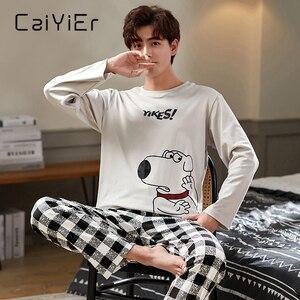 CAIYIER осенне-зимний мужской пижамный комплект с милым мультяшным принтом, одежда для сна, мягкая свободная Мужская Ночная рубашка размера пл...