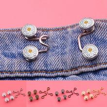 Diy invisível ajustar botão de metal jeans cintura fivela removível sem pregos botão da cintura botão destacável botão de ajuste da cintura