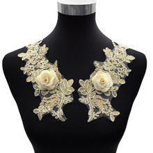 3D Three-Dimensional Flower Plus Beads Applique Embroidery Collar Flower-Shaped Lace Fabric DIY Wedding Dress Sewing Accessories plus 3d flower applique portrait tee