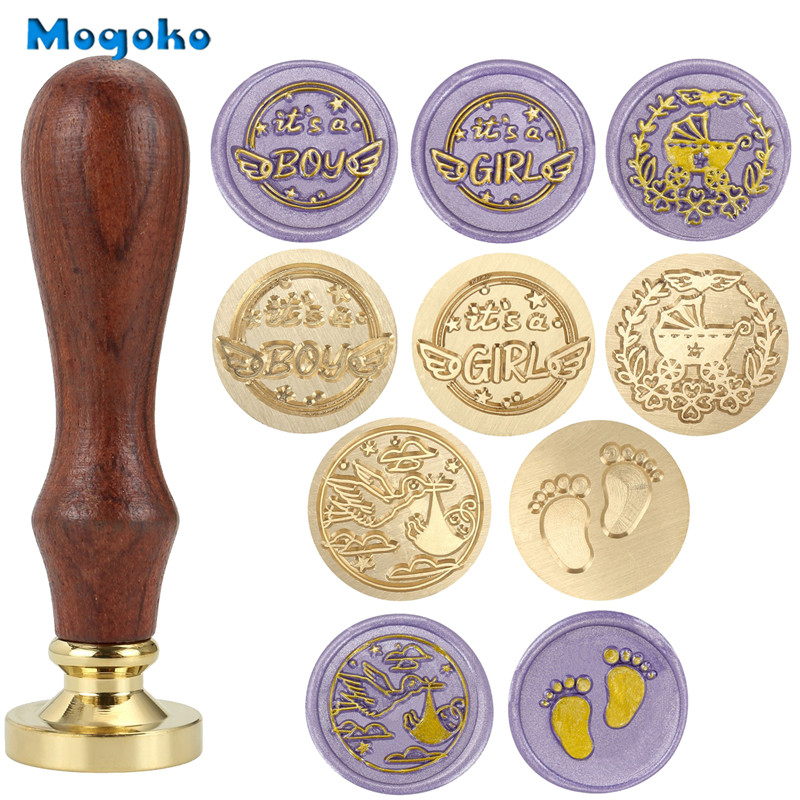 Retro Sealing Wax Classic Initial Wax Seal Stamp Wooden Handle and Copper Seal Head C