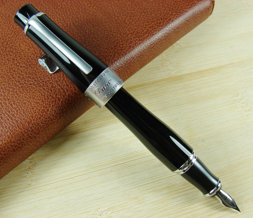 Duke 2009 Black Fountain Pen Memory Charlie-Chaplin Big Size Unique Style, Medium / Bent Nib Heavy Business Office Writing Pen