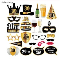 Twins Party 24Pcs 30/40th/50/60th Happy Birthday Photo Booth Props Mask Photobooth 30th Year  Decoration