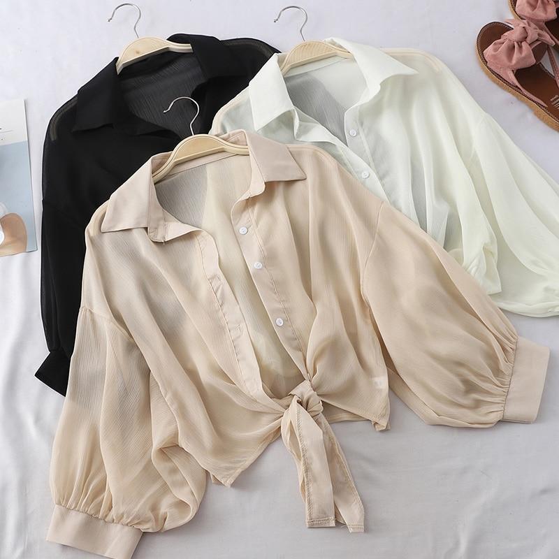 Chiffon Lantern Sleeve Women Shirts Bow Tie Female Elegant Shirt Korean Style 2020 Summer Sunscreen Basic Ladies Casual Tops