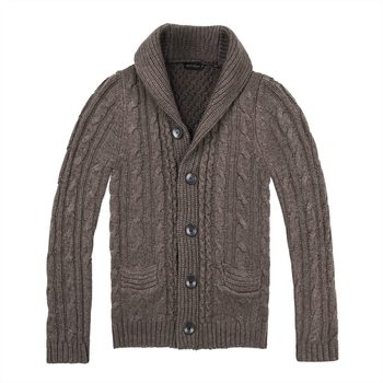 BOTVELA Fall Winter Aran Cardigan Men Wool Blend Sweater Shawl Collar Cable Stitch and Pockets Buttons 200