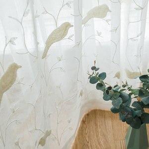 Cortina de tul bordada con pájaro para sala de estar, cortina con gasa transparente para ventana de dormitorio, tela de cocina, decoración del hogar