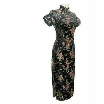 Krótkie rękawy Qipao długie sukienki seksowna sukienka czarny smok i feniks chińskie tradycyjne suknie kobiety Satin Cheongsam Qipao Big Size tanie i dobre opinie DIDUQIPAO Poliester Cheongsams 0907 S M L XL 2XL 3XL 4XL 5XL 6XL same as the picture Vintage elegant classic To The Ankle