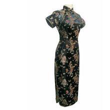 Short Sleeve Qipao Long Dresses Sexy dress Black Dragon&phoenix Chinese Traditional Gown Women Satin Cheongsam Qipao Big Size