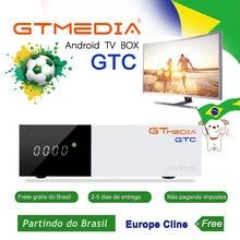 GTmedia GTC Android TV BOX 2/16GB Amlogic S905D DVB-S2 DVB-C DVB-T2 satellite receiver iptv m3u ccam brasil brazil warehous