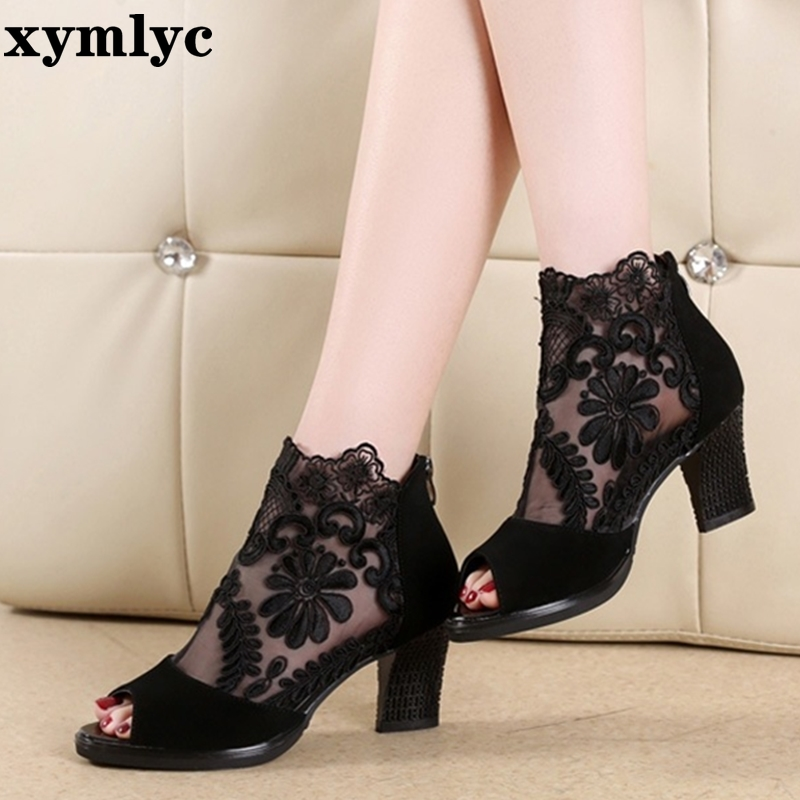 Summer mesh Peep Toe sandals sexy heels single shoes women shoes in Europe and America 2020 spring and summer gauze mujer 2