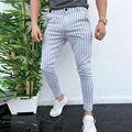 Модные мужские облегающие деловые строгие брюки в полоску, повседневные офисные обтягивающие длинные прямые джоггеры, спортивные брюки, бр...