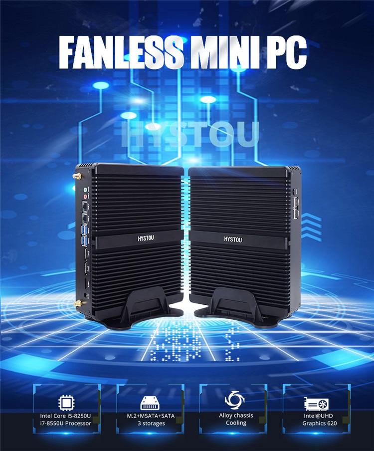 Hystou Newest 8TH Gen Industrial Computer I7 8550U Fanless PC Server I5 8250U Linux HDMI 2.0 DP 3 Years Warranty Desktop