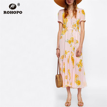 ROHOPO Yellow Floral Daisy Chic Pink Chiffon Midi Dress Top Buttons Belted Pleated Maxi Accordion Vestido #9291
