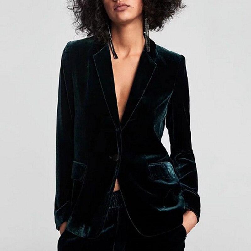 Dark Green Velvet Women Blazer 2019 Autumn And Winter Office Lady Pocket Warm Coat Casual Single Button Outerwear Blazer Femme