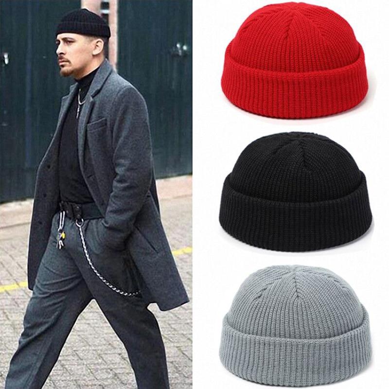 Winter Knit Mens Hat Skullcap Men Beanie Hat Winter Short Brimless Baggy Melon Cap Docker Fisherman Knitted Hat Women