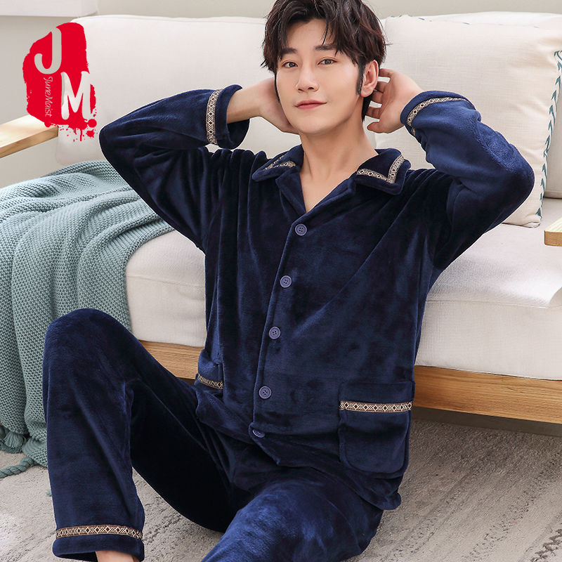 Winter Pajama Man Warm Men's Sleepwear Flannel Thick Long Sleeve Men Pyjama Set Casual Homewear Pyjamas Male Homewaer Sleep XXXL