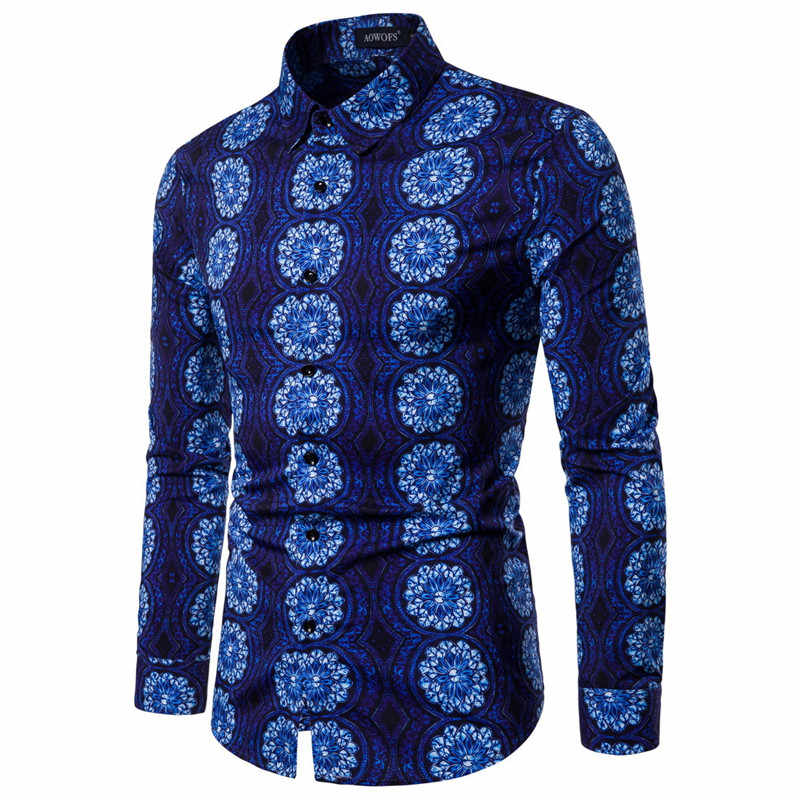 Mens Blue Vintage Ethnic Print Button Down Dress Shirts 2019 Brand New Slim Fit Long Sleeve Shirt Men Camisa Social Masculina