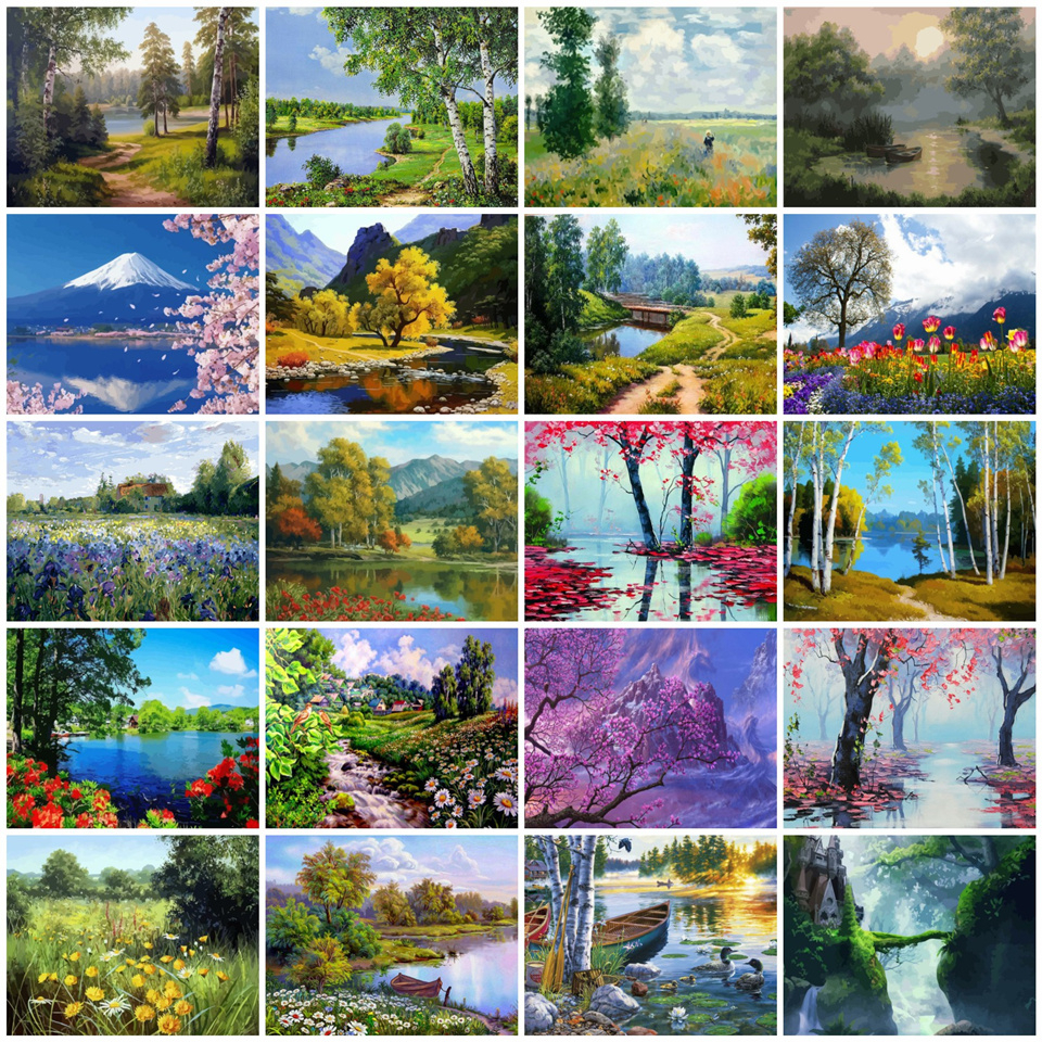 AZQSD DIY 50x40cm Paint By Numbers For Landscapes Home Decoration Oil Painting By Numbers Full Set For Adults(China)