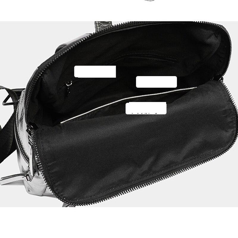 Image 5 - Womens Backpack 2019 New Fashion Summer School Bag for Teenage Girls Back Pack Silver High Quality Backpack PU Bagpack FemaleBackpacks   -