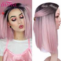 HANNE-Peluca de pelo liso corto para mujer pelucas de Cosplay de parte media para mujer, color rosa/Rojo/azul, resistentes al calor