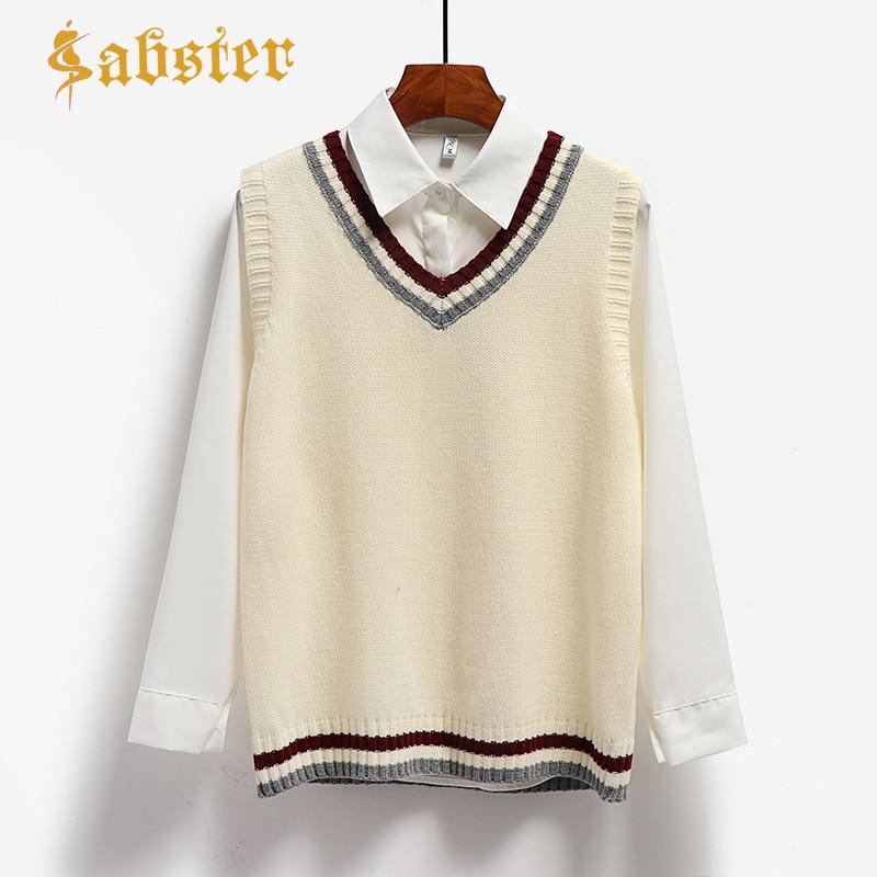 2019 New Spring Autumn Sweater Vest Women V-Neck Knitted Vest Female Casual Tank Tops Sleeveless Female Hot Sale  XZ560