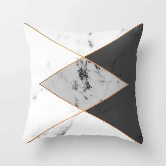 Pink Geometris Abstrak Dekoratif Bantal Marmer Pola Bunga Desainer Putih dan Hitam Abu-abu dengan Harga Murah Cushion Cover 45*45 CM