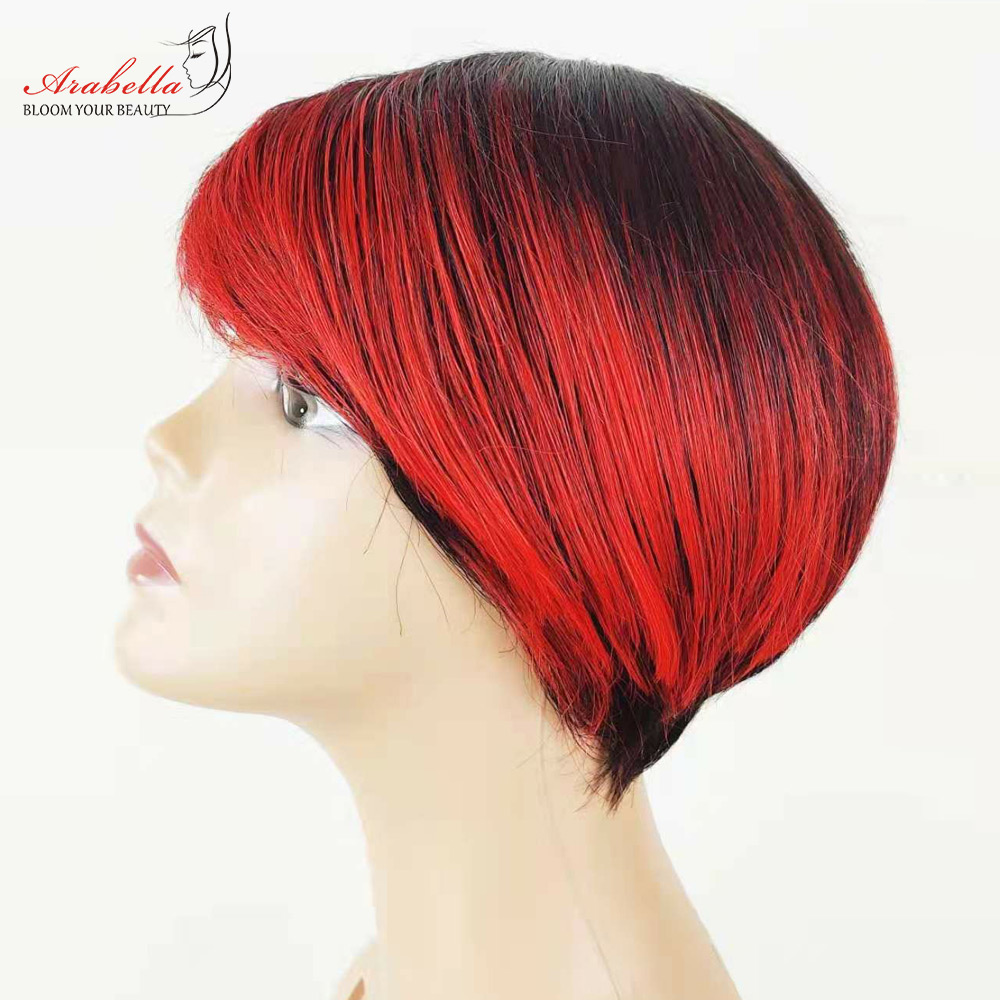 Straight Wig Ombre Glueless Wig 100%  Wigs Pixie Cut Wig  Highlight Arabella  Hair Wig With Bangs 2