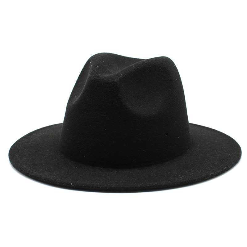 Retro classic felt jazz hat fedora hat with big brim Panama for women men black red top hat Ladies top hat imitation wool  cap 2
