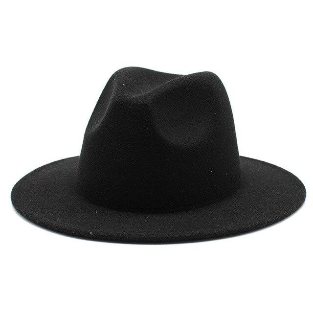 Retro classic felt jazz hat fedora hat with big brim Panama for women men black red top hat Ladies top hat imitation wool  cap 2