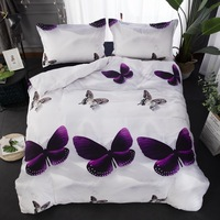 Butterfly pattern print Duvet cover set Bedding Set for comforter AU Queen King UK Double Sizes with Pillow Cases bed linens set