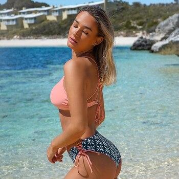 Conjunto de Bikini de cintura baja rosa con estampado bohemio Reversible 5