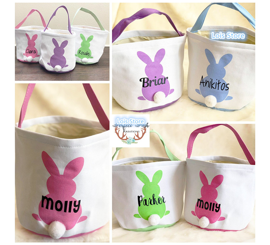 Wholesale Easter Bunny Basket 20pcs/lot 18 Styles Monogrammed Personalized Blank Easter Bunny Tail Buckets Easter Tote Bag