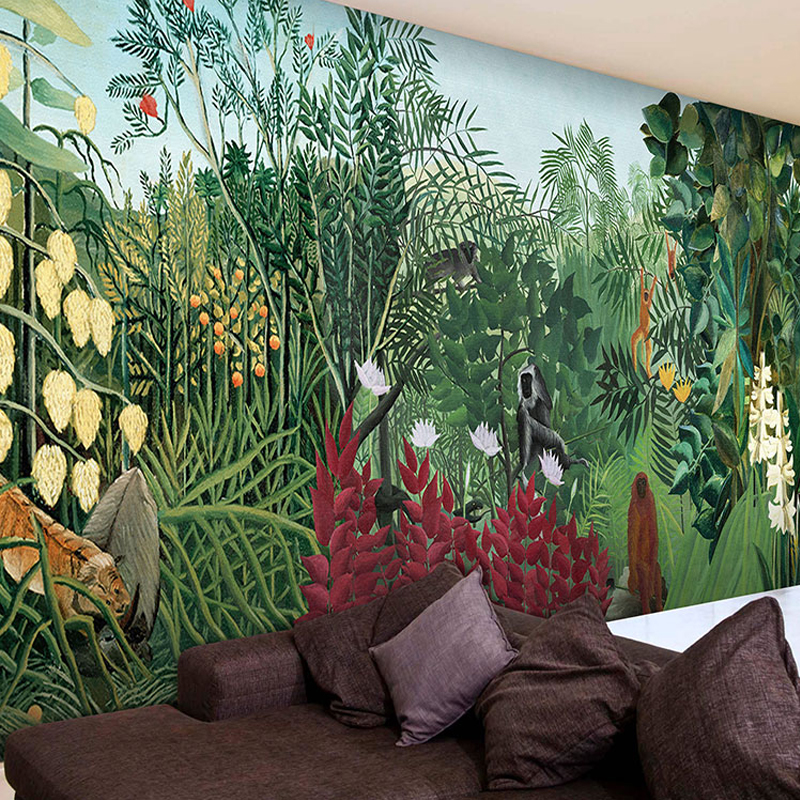 Drop Shipping 3d Mural Tropical Rainforest Jungle Green Large Mural Cafe Lounge Custom Personalized