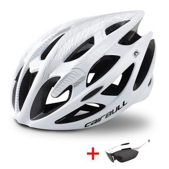 Ultraleve mountain bike estrada capacete da bicicleta com óculos de sol das mulheres dos homens equitação ciclismo capacete de segurança in-mold dh mtb bicicleta capacete 1