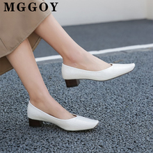 Spring 2020 New Pumps Low Heel Shoes Stone Pattern Square Toe Woman Pump Leisure Simple Women Rubber Sole PU Female Shoe