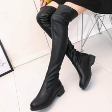 Stretch Thigh high botas brief leather long botines mujer stovepipe slip on fashion woman boots chunky heels over knee autumn winter slim bottes(China)