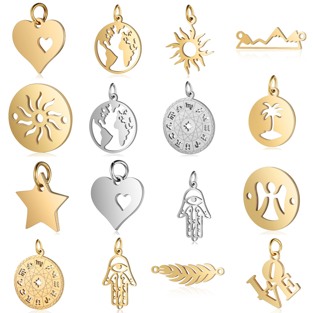 5pcs/lot diy palm pineapple stainless steel charm pendant wholesale sun world map horoscope jewelry bracelet connector charms