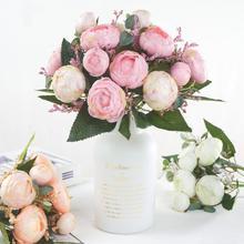 1Pc Artificial Tea Rose Flower Home Garden Stage Wedding Party Decorative Prop Vivid Color Decor Beautiful Non-fading
