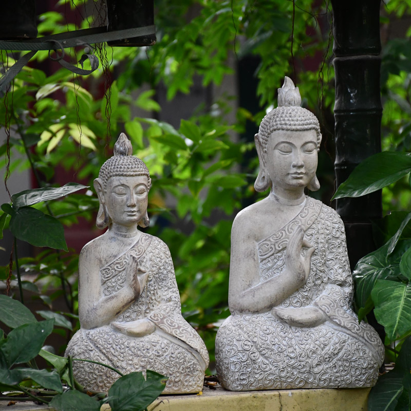 Buddha Statue Zen Sakyamuni Garden Decoration Statue Outdoor Decorative Buddha Sculpture For Home Desk Garden Decor Ornament