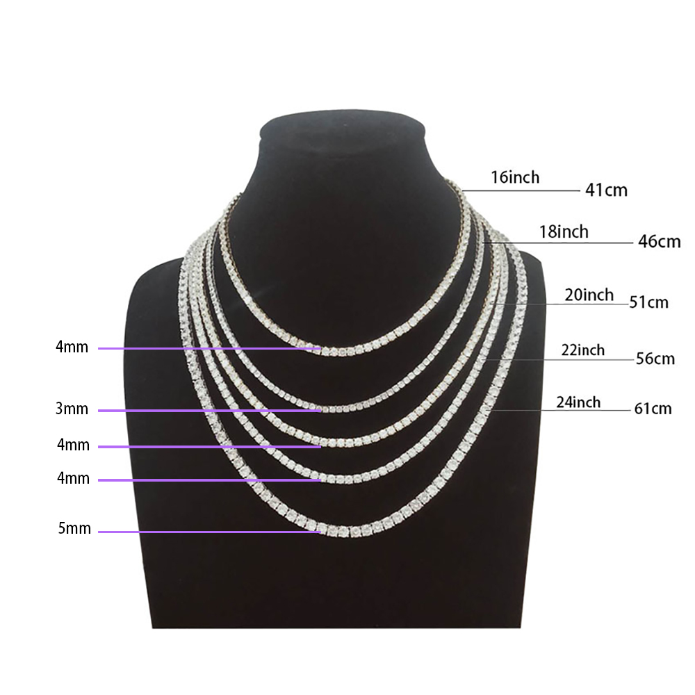 """5mm Rock Hip Hop Zirconia Tennis Chains Bling Iced out Cubic Necklace Men women Jewelry Crystal Choker Ketting Sieraden 18""""  20"""" 5"""