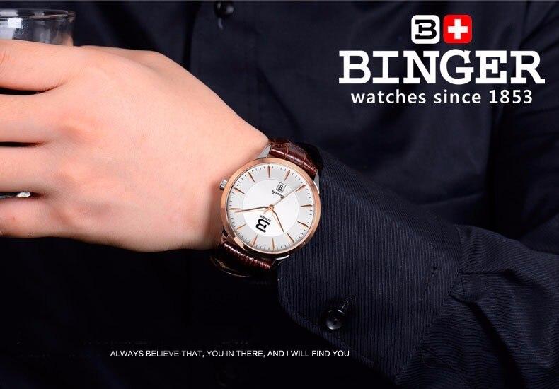 negócio binger marca masculina couro aço analógico