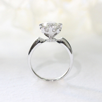 Sterling Silver 10k 14k white gold 100% 0.3ct 4.0mm Round Cut Moissanite Ring DEF Color VVS1 Wedding Engagement Ring For Women