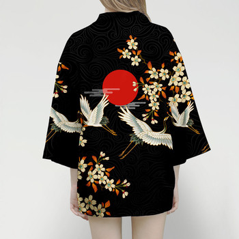 Samurai Crane Japanese Style Kimono Haori Men Women Cardigan Chinese Dragon Traditional Japanese Clothing Asian Clothes image